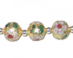 12mm Gold Round Cloisonne Bead, 4 beads