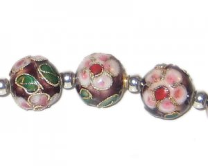 12mm Maroon Round Cloisonne Bead, 4 beads