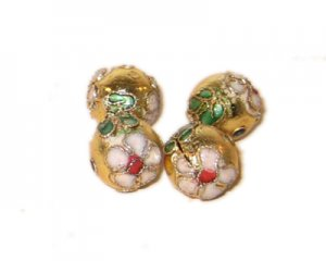 10mm Gold Round Cloisonne Bead, 6 beads