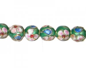 8mm Emerald Round Cloisonne Bead, 6 beads