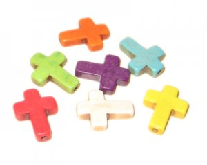 12 x 16mm Dyed Turquoise Crosses - 4 random colors