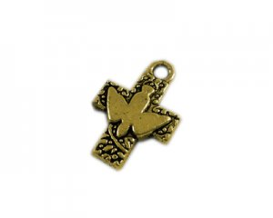 16 x 24mm Antique Gold Cross with Dove - 2 crosses