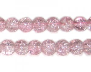 8mm Baby Pink Round Crackle Glass Bead, approx. 55 beads