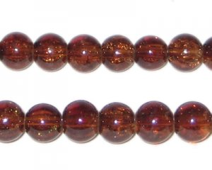 8mm Dark Brown Round Crackle Glass Bead, approx. 55 beads