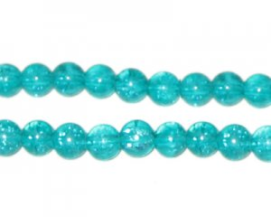 6mm Aqua Crackle Glass Bead, approx. 74 beads