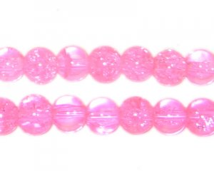 8mm Neon Pink Round Crackle Glass Bead
