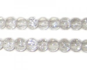 6mm Crystal Round Crackle Glass Bead, approx. 74 beads