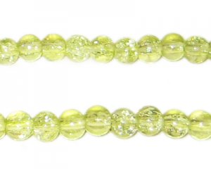 6mm Apple Green Round Crackle Glass Bead, approx. 74 beads