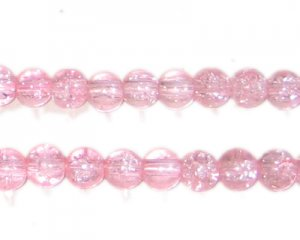 6mm Baby Pink Crackle Glass Bead, faded. No Returns!