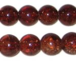"12mm Dark Brown Crackle Glass Bead, 8"" string, approx. 18 beads"