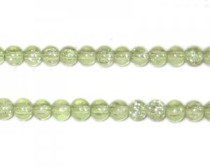 4mm Apple Green Round Crackle Glass Bead, approx. 105 beads