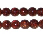 "10mm Dark Brown Crackle Bead, 8"" string, approx. 21 beads"
