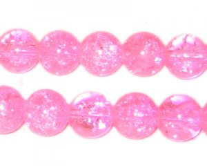 "10mm Neon Pink Round Crackle Bead, 8"" string, approx. 21 beads"