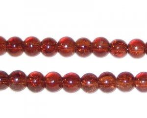 6mm Dark Brown Round Crackle Glass Bead, approx. 74 beads