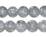 "12mm Silver Round Crackle Bead, 8"" string, approx. 18 beads"