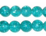 "12mm Aqua Round Crackle Bead, 8"" string, approx. 18 beads"