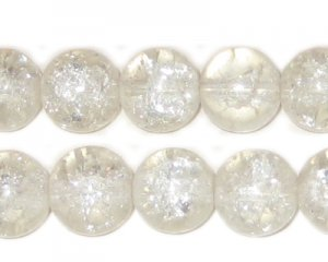 "12mm Crystal Round Crackle Bead, 8"" string, approx. 18 beads"