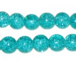 "10mm Aqua Crackle Bead, 8"" string, approx. 21 beads"