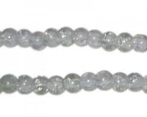 6mm Silver Crackle Glass Bead, approx. 74 beads