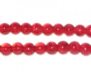 6mm Light Red Round Crackle Glass Bead, approx. 74 beads