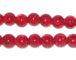 8mm Light Red Round Crackle Glass Bead, approx. 55 beads