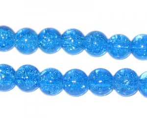 8mm Light Turquoise Round Crackle Glass Bead, approx. 55 beads