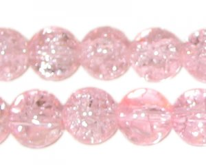 "12mm Baby Pink Round Crackle Bead, 8"" string, approx. 18 beads"