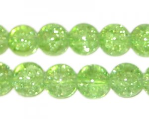"10mm Apple Green Crackle Glass Bead,app.22 beads, 8"" string"