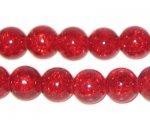"10mm Light Red Crackle Bead, 8"" string, approx. 21 beads"