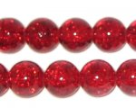 "12mm Light Red Round Crackle Bead, 8"" string, approx. 18 beads"