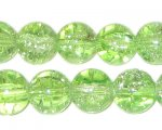 "12mm Apple Green Round Crackle Bead, 8"" string, approx. 18 beads"
