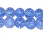 "12mm Sky Blue Round Crackle Glass Bead,app.18 beads, 8"" string"