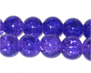 "10mm Purple Crackle Bead, 8"" string, approx. 21 beads"