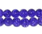 8mm Purple Round Crackle Glass Bead, approx. 55 beads