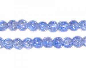 6mm Sky Blue Round Crackle Glass Bead, approx. 74 beads