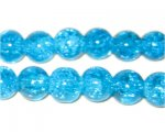 "10mm Light Turquoise Crackle Bead, 8"" string"