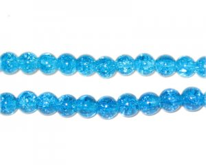 6mm Light Turquoise Round Crackle Glass Bead, approx. 74 beads
