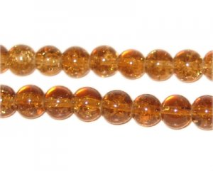8mm Light Brown Round Crackle Glass Bead, approx. 55 beads