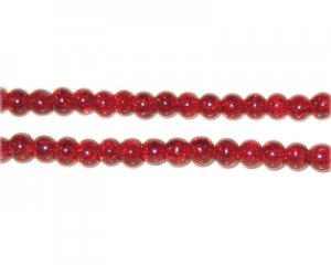 4mm Dark Red Crackle Glass Bead, approx. 105 beads
