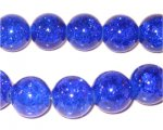 "12mm Dark Blue Crackle Bead, 8"" string, approx. 18 beads"