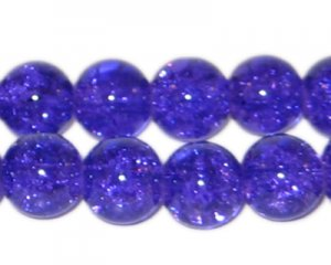 "12mm Purple Crackle Bead, 8"" string, approx. 18 beads"