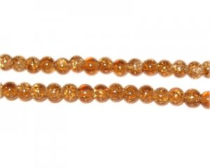 4mm Light Brown Round Crackle Glass Bead,approx.105 beads