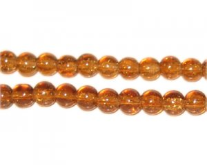6mm Light Brown Round Crackle Glass Bead, approx. 74 beads