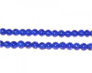 4mm Dark Blue Crackle Glass Bead, approx. 105 beads