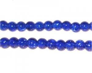6mm Dark Blue Crackle Glass Bead, approx. 74 beads