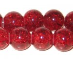 "12mm Dark Red Crackle Bead, 8"" string, approx. 18 beads"