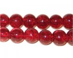 "10mm Dark Red Crackle Bead, 8"" string, approx. 21 beads"