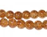 "10mm Light Brown Crackle Bead, 8"" string, approx. 21 beads"