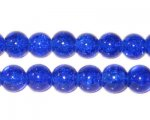 8mm Dark Blue Round Crackle Glass Bead, approx. 55 beads