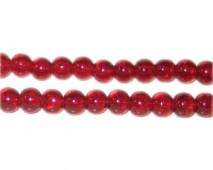 6mm Dark Red Round Crackle Glass Bead, approx. 74 beads